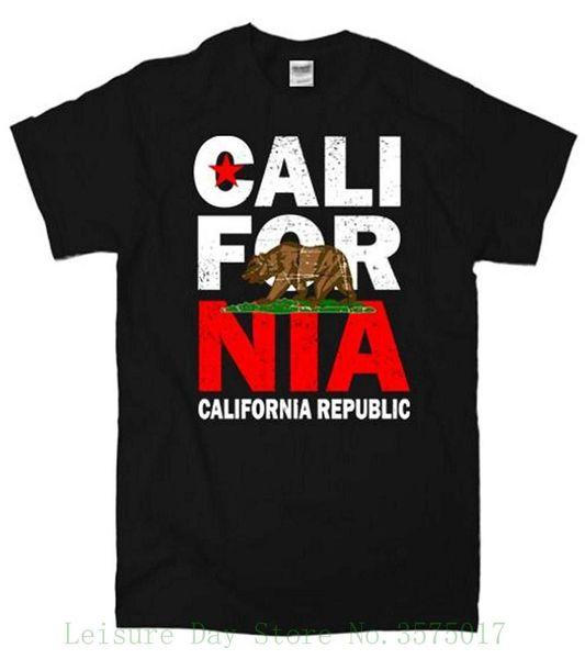 Cali Kaliforniya Cumhuriyeti T-shirt Tee Gömlek Hipster Harajuku Marka Giyim T-shirt
