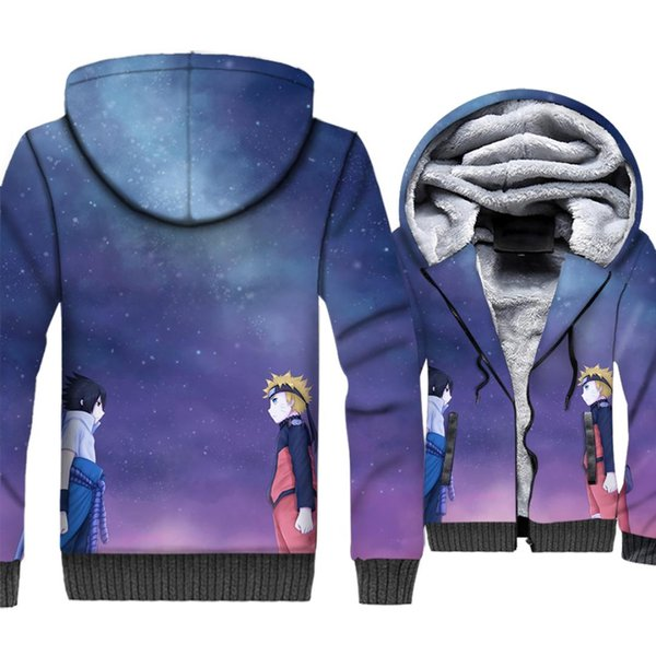 2018 winter 3D Print swag coats man Uchiha Sasuke fashion hoodies men thicken wool liner tracksuits Anime Uzumaki Naruto jackets