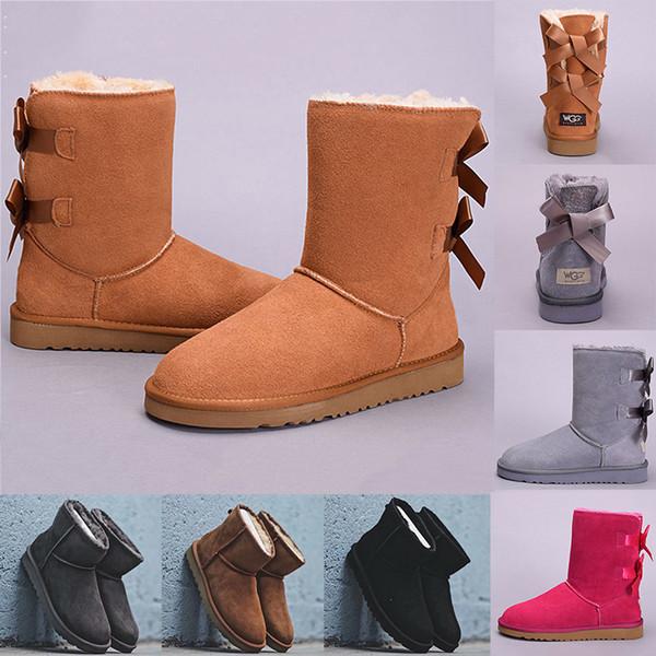 2019 Yeni WGG Tasarımcı Kadınlar Kış Kar Botları Moda Avustralya Yarım Kısa yay çizmeler Ayak Bileği Diz Ilmek kız lady Boot 36-41