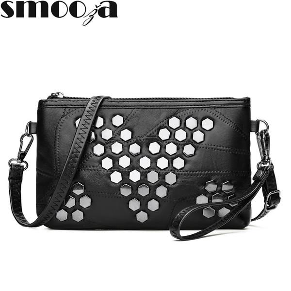 bedc1c44cac2 SMOOZA Genuine Leather Women Handbags Brand Clutch soft Women Messenger bags  rivet Crossbody Bag Small Shoulder bag sac a main
