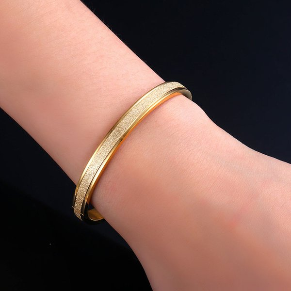 Simple titanium stainless steel punk love bracelets bangles grind arenaceous frosted bracelet for women men couple jewelry J35