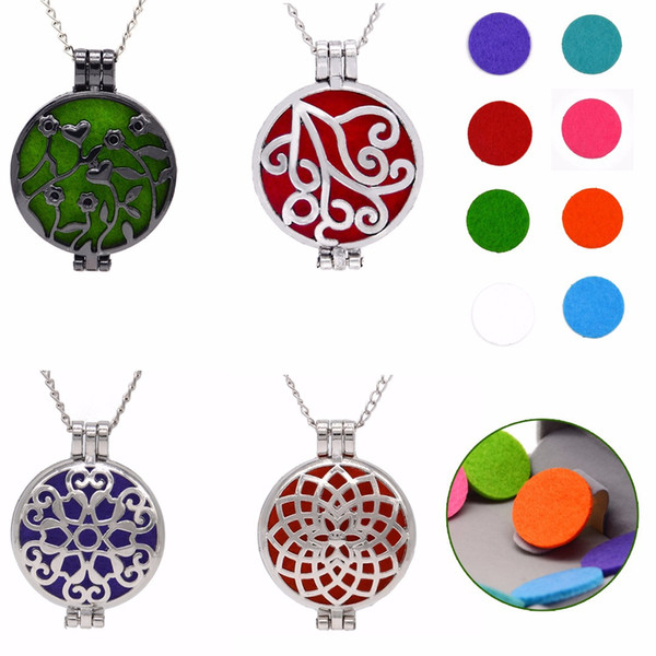 Necklace Charm Women Men Aromatherapy Essential Oils Diffuser Locket Fragrant Hollow Long Pendant Necklace Five Sponge#S