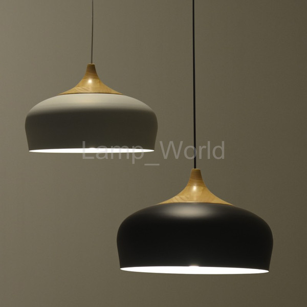 Modern Pendant Light Oak Wood Lamp E27 Socket Wood Lampholder Hanging Light White Black Optionally 300mm 350mm Multi Light Pendants Traditional