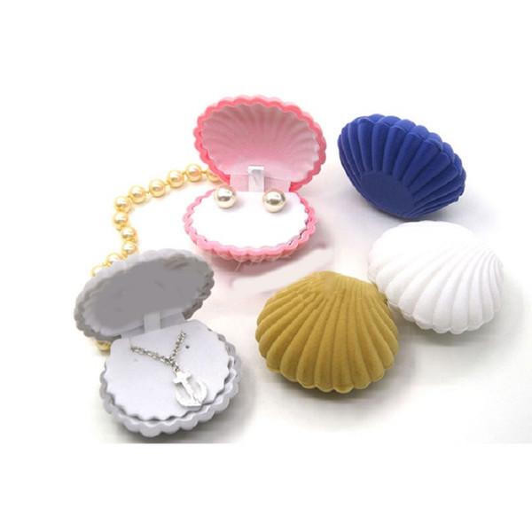 Jewery Organizer Box Rings/Earrings Storage Small Gift Box DIY craft Display Case Wedding/etc Velvet Shell Shape for Necklace/Bracelet/etc