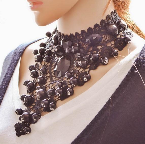 Fashion Women Lace Chokers Fashion Plastic Beads Adjustable Ribbon Necklaces Statement Necklaces Women Party Necklaces