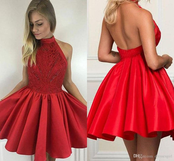 Hot Sales Red Homecoming Dresses High Neck Sexy Open Back Satin Lace Red Short Prom Dresses With Beaded A Line Cocktail Graduation Dresses