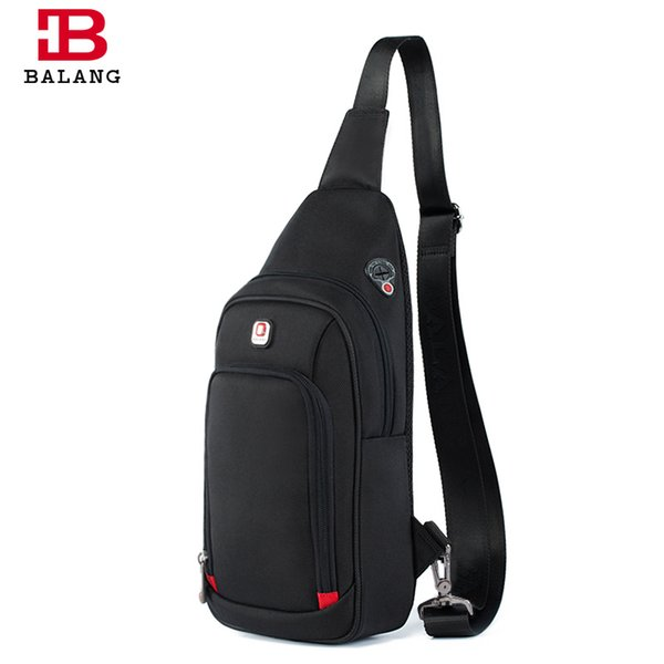 BALANG Brand New Fashion Chest Pack for Man for Ipad Mini Anti-theft Waterproof Sling Shoulder Bags with Headphone Cord Port