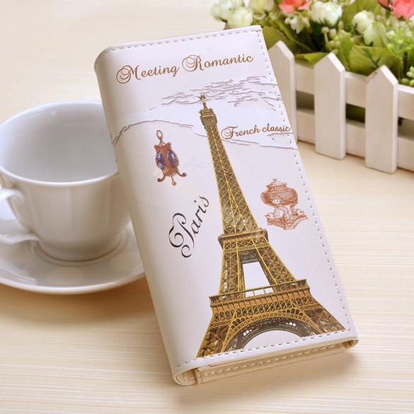 Paris Flags Torre Eiffel Mulheres Carteiras Sacos Longo Embreagem Senhora Bolsas Bolsas Mochila Meninas Coin Purse Cartões Titular Burse Carteira