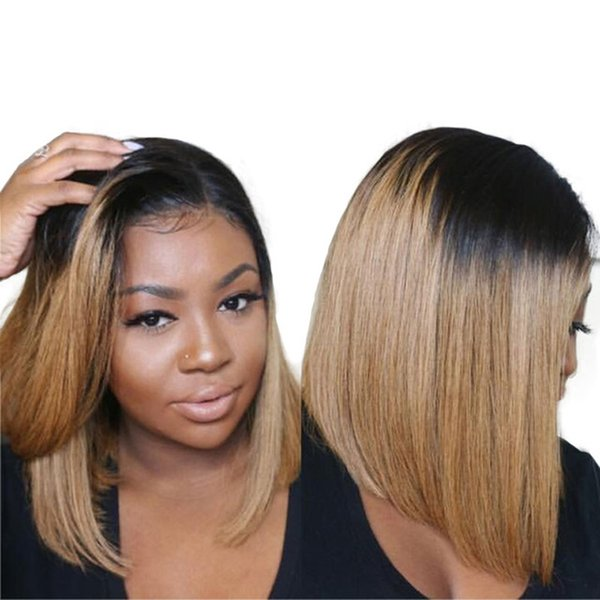 Ombre T1B/27 Color Brazilian Full Lace Remy Human Hair Bob Wig Bleach Knots Silk Top Lace Front Human Hair Wigs For Women