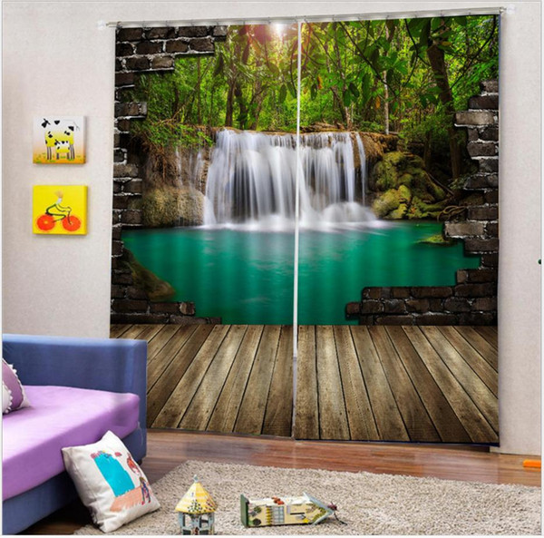 3d Blackout curtains Forest waterfalls outside the wall, high blackout curtains, modern 3d digital print curtains for livingroom