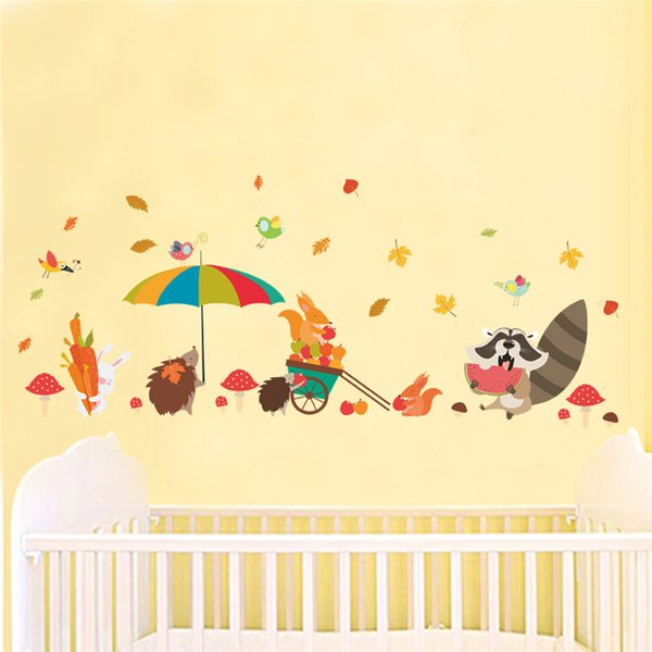 late autumn squirrel hedgehog birds wall stickers for kids rooms home decor cartoon animals wall decals diy poster pvc mural art