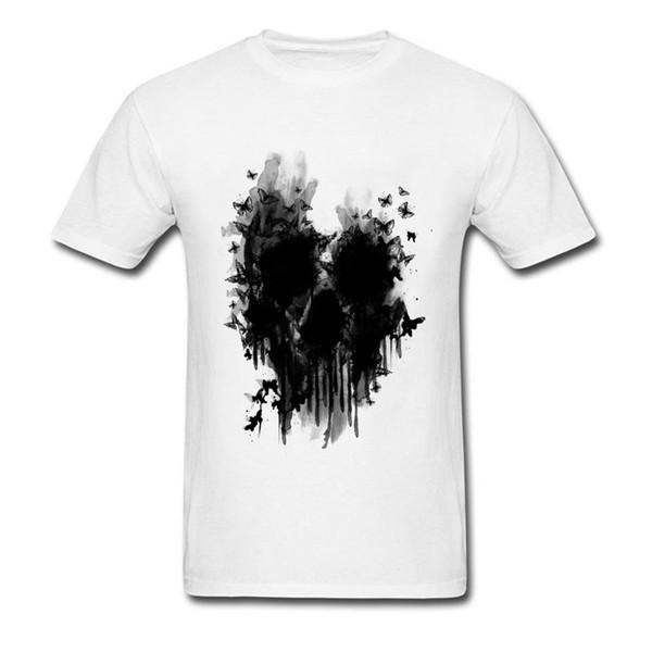 new product 6659e dc43a Acquista T Shirt In Puro Cotone Tondo Da Uomo In Tinta Unita Da Uomo T  Shirt Personalizzate Con Teschio Maschile T Shirt Con Teschio A Farfalla  Online ...