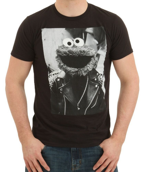 Cookie Monster Deri Ceket T-Shirt Erkek% 100% Pamuk Kısa Kollu Baskı Üst Harajuku Kısa Kollu Gömlek Serin T Gömlek Tops