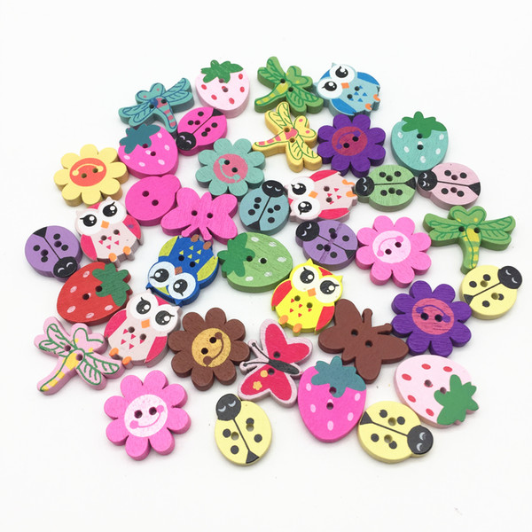 1000pcs 20-25mm Mixed Butterfly Flower Owls Dragonfly Bees Wood Buttons For Scrapbooking DIY Crafts Embellishments