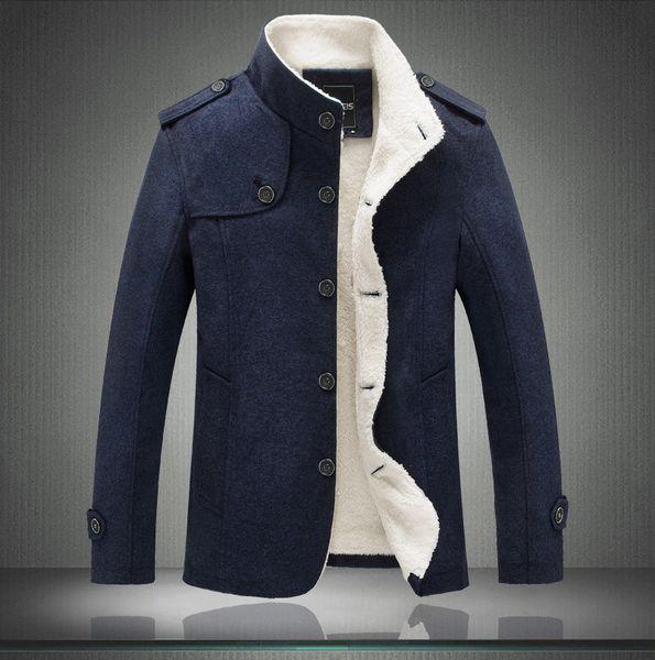Brand Mens Stand Collar Wool Winter Coat High Quality Men Woolen Jacket Coats Fleece Men Cashmere Overcoat Mens Trench Coat Blue