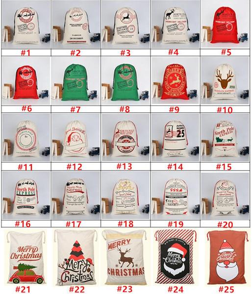 top popular 2018 New Christmas Gift Bags Large Organic Heavy Canvas Bag Santa Sack Drawstring Bag With Reindeers Santa Claus Sack Bags Drawstring Canvas 2019