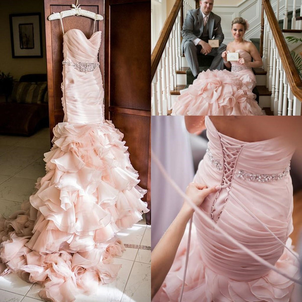 Blush Pink Wedding dresses 2018 Sweetheart Tiered Layered Organza Mermaid Crystal Beaded Belt Lace-up Corset Country Wedding Gown