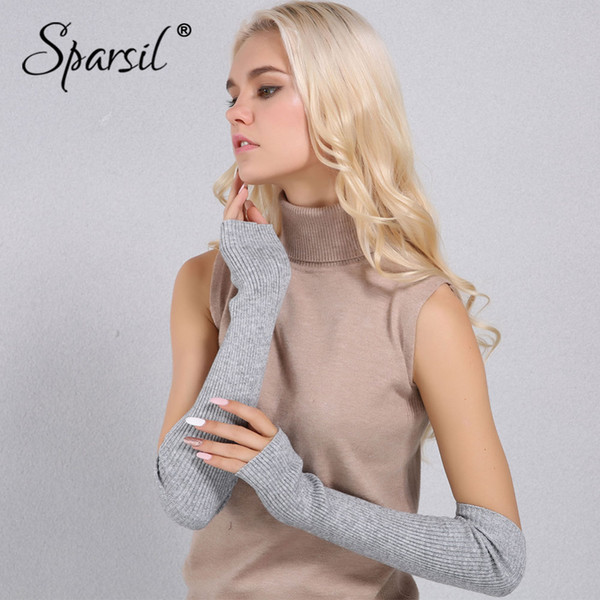 Sparsil Women Autumn 50cm Cashmere Fingerless Gloves Elastic Warm Knitted Elbow Mittens 19 Color Cosplay Party Guantes