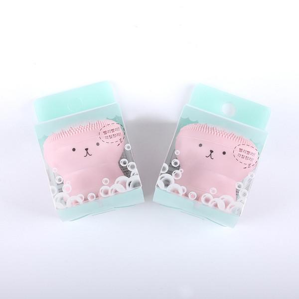 2018 Brochas para Lavado Super Little Cute Octopus Face Cleaner Massage Cepillo Facial de Silicona Suave Limpiadores Faciales Blackhead