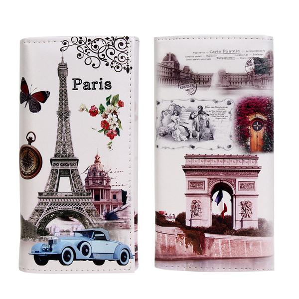 Moda Feminina Carteira Longa Venda Quente Suave PU couro Paris Flags Torre Eiffel Estilo Lady Coin Bolsas Embreagem Carteiras Sacos De Dinheiro