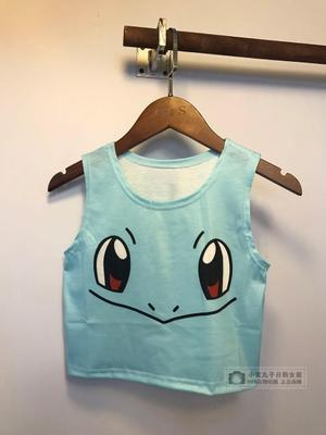 New design women's sexy cute cartoon squirtle pikachu print sleeveless o-neck short bustier crop top tank vest camisole