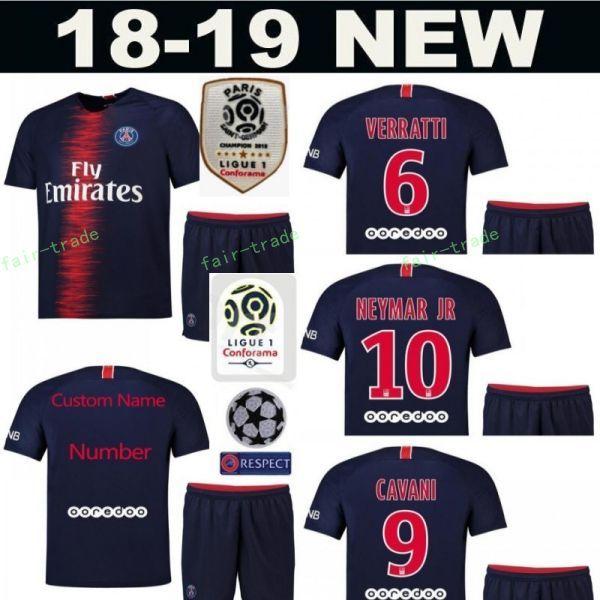 161033598 18 19 PSG FC Paris Saint Germain Soccer Jersey Set 10 NEYMAR JR 7 Kylian  Mbappe