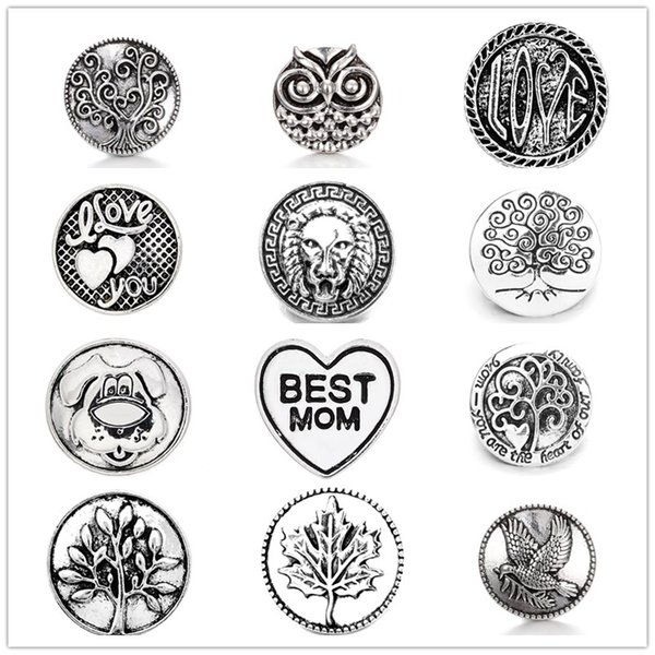Noosa Chunks Ginger Snap Jewelry Tree Of Life Owl 18mm Snap Button for DIY 18MM Snap Button Bracelet Earrings Ring