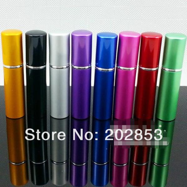 100 pz / lotto pompa a vuoto bottiglia di profumo vuota 5 ml di alluminio vetro anodizzato compatto a base di profumo atomizzatore fragranza mini spray profumo-bottiglia