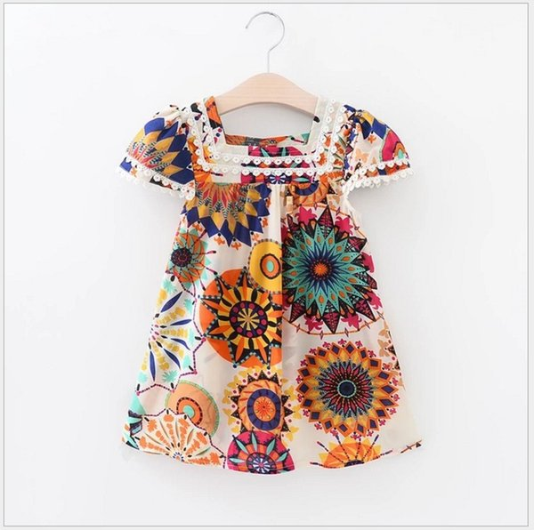 2018 New Summer Girl Sunflower Printed Princess Dress Children Short Sleeve Lace Dresses Kids Bohemian Lace Dress 100-140cm Retail
