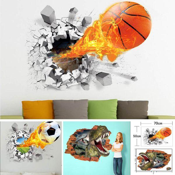 Adesivi murali 3D per basket Dinosauro Calcio Decorazione della casa Rimuovi vita impermeabile adesivi murali carta 50 * 70cm HH7-1673