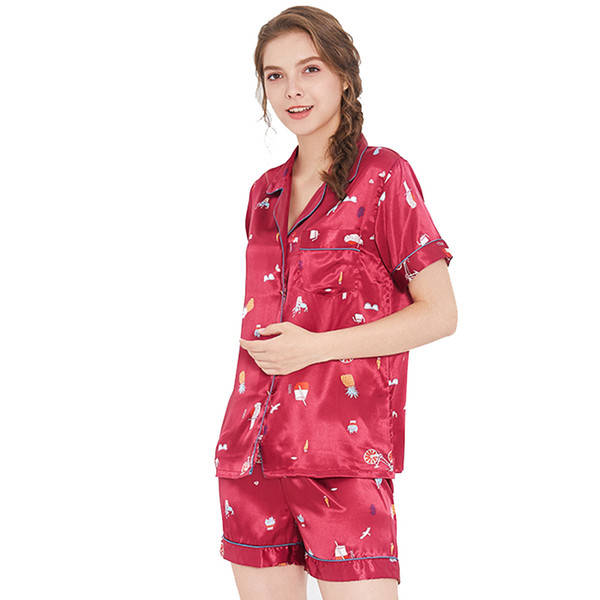 Womens Sleep Pajama Sets 2018 Summer New Silk Summer Print Short Turn Down  Collar Shorts Two Piece Suit Tracksuit Pajama Sets 335332fd2