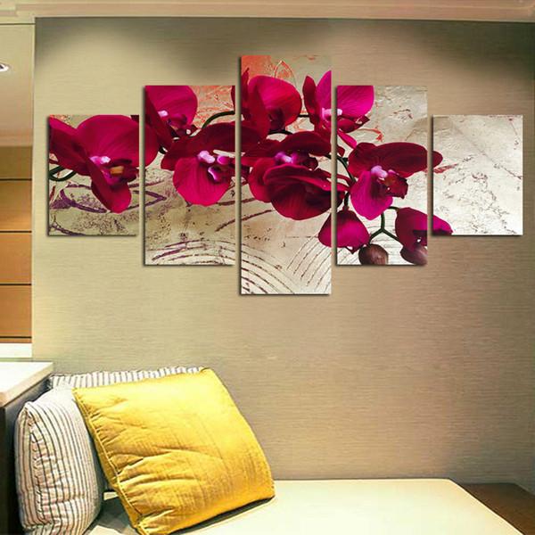 5 Pièces Toile Imprimer Peintures Murales pour La Maison Fleur Red Moth Orchidée Mur Art Photo Modulaire Modulaire Photo Sans Cadre FA498