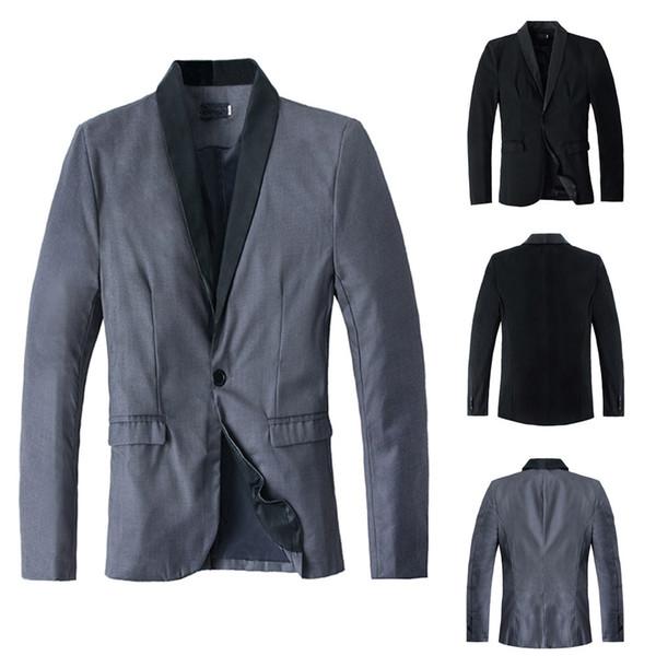 New S-XL Uomo Autunno Inverno Casual Slim manica lunga giacca Trench Coat Top camicetta grigio nero Drop Shipping
