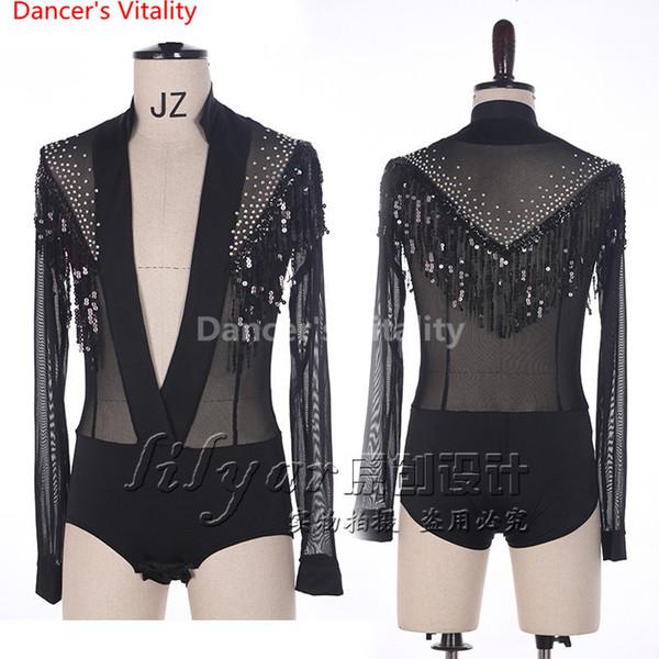 Latin Dance Men Tops Costume Performance Competition Suit Sequin Tassel Diamond Perspective Sleeves T-shirt Rumba Salsa Tango Chacha Boy Top
