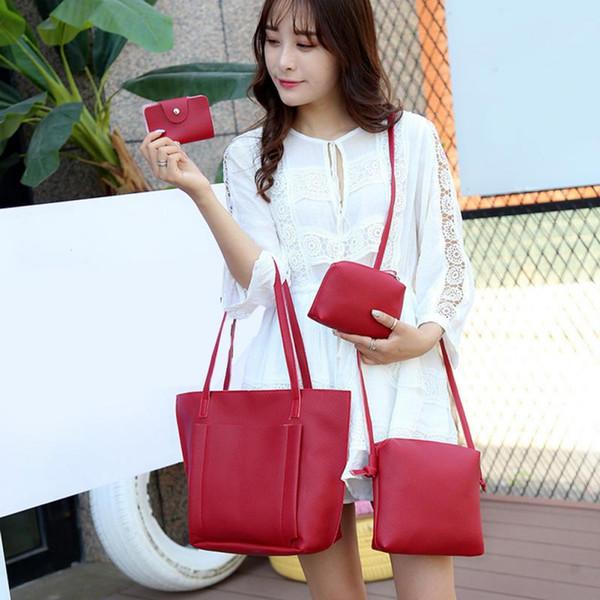 4pcs/set women new stylish handbags single shoulder bag massager large capacity totes bag