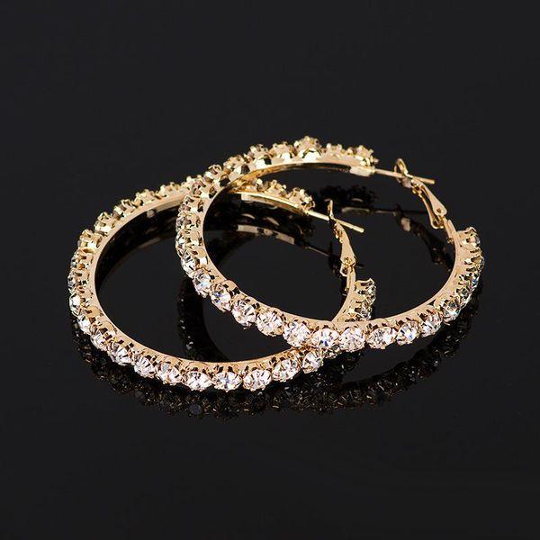 Para mujer Pendiente de Aro Pendientes de Cristal Rhinestone Para Las Mujeres Diseñador earing Oro Astilla anillo de oído joyería de Moda femenina Joyería 2018 Nuevo