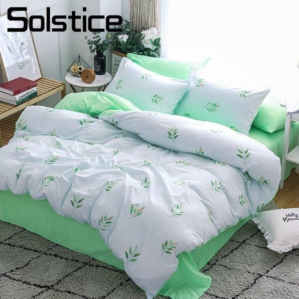 Solstice Home Textile White Green Duvet Cover Pillowcase Bed Sheet King Full Bedding Set Girls Woman Kids Adult Linen Bedclothes