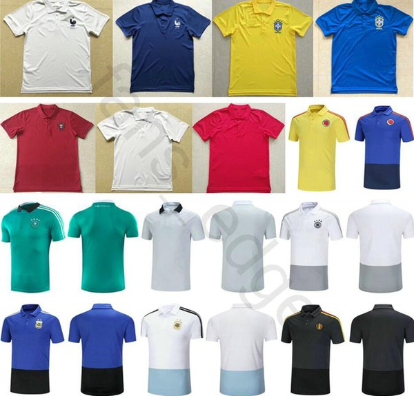 2018 World Cup Soccer Polo Shirt France Portugal England Colombia Germany Belgium Argentina Home Away Custom Adult Football Training T-Shirt