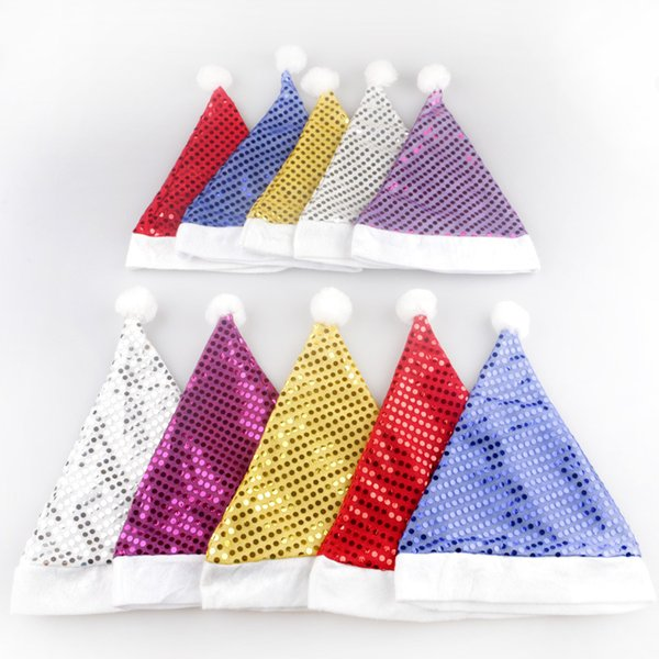 Christmas Hats adults Children Christmas Cosplay Hats freesize sequins hats caps Decoration Cloth Santa Clause Navidad Caps Festival CFG25