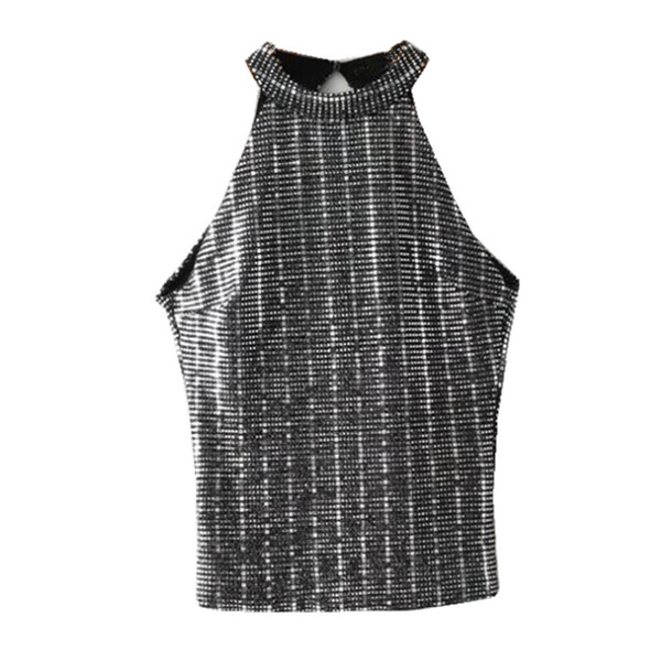 Sexy Bling Sequins Halter tight Slim fit Camis 2018 Crop Top Camisetas Tank Vest Hollow Out Backless Halter Straps Tee