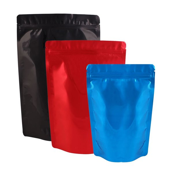 100pcs Multi Sizes Blue/ Red/ Black Zip Lock Storage Bag Stand Up Aluminum Foil Mylar Package Bag Pouch For Food Snack