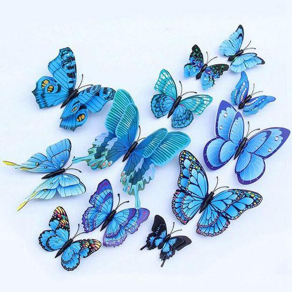 12 unids / set Multicolor Doble Capa 3D Mariposa Etiqueta de La Pared Imán de PVC Mariposas Partido Niños Dormitorio Nevera Decoración GA500
