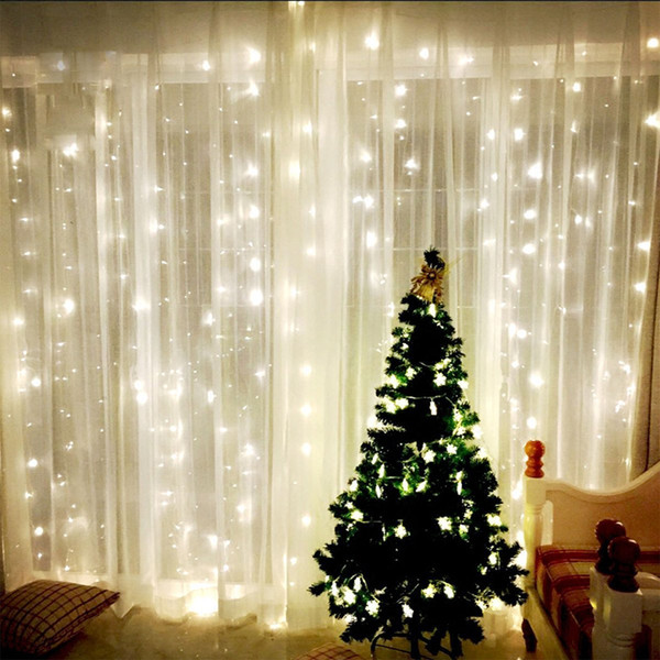 top popular 9.8ft X 9.8ft 3X3M 300LEDs Lights Wedding Christmas String Birthday Party Outdoor Home Decorative Fairy Curtain Garlands 2020
