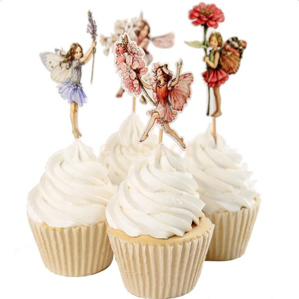 48pcs Flower Fairy Pixie Cupcake Picks Cake Topper Bridal Shower Party Decor