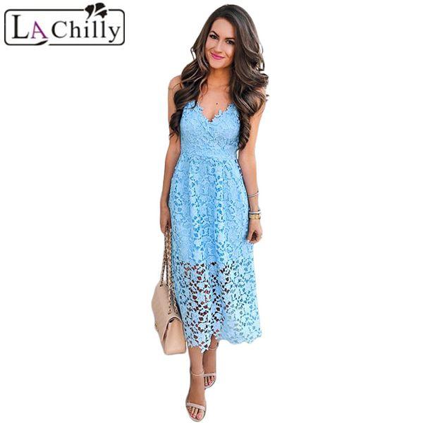 La Chilly Summer Dress 2018 Women Clothes Korean Stylish Light Blue Spaghetti Strap V-Neck Lace Midi Dress Robe Femme LC610253