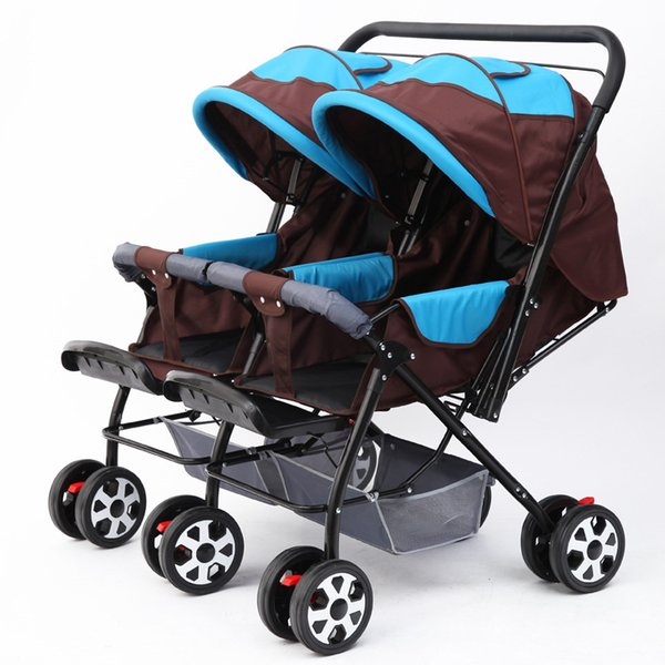 Doble cochecito de bebé cochecito para gemelos recién nacido carro de bebé puede sentarse Lie plano plegable coche doble paraguas cochecito sistema de viaje