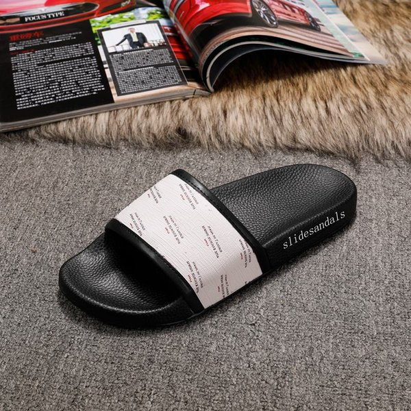2018 fashion beige all over stamp print rubber slides slippers mens womens causal beach flip flops size euro 35-45