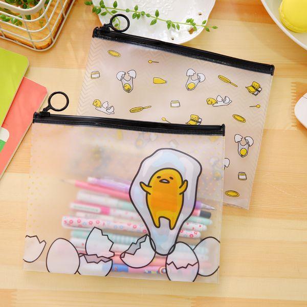 Cute cartoon Gudetama PVC school pencil case for girls Kawaii egg Zipper file holder Stationery pouch bag office school supplies