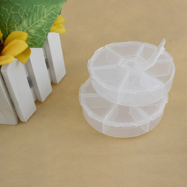 Hot 200pcs Round 6 Grid Transparent Plastic Storage Box Pill Jewelry Container fast shopping jc-340
