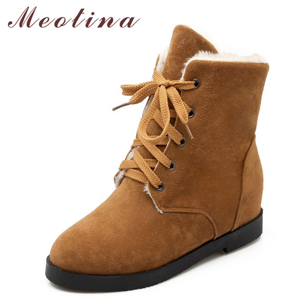 Meotina Winter Women Snow Boots Fur Warm Plush Lace Up Ankle Boot Low Heels Short Boots Lady Shoes 2018 Large Size 34-43 Brown